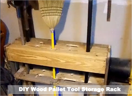 DIY Wood Pallet Tool Storage Rack