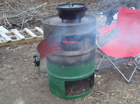 DIY Metal Barrel Outdoor Wood Stove