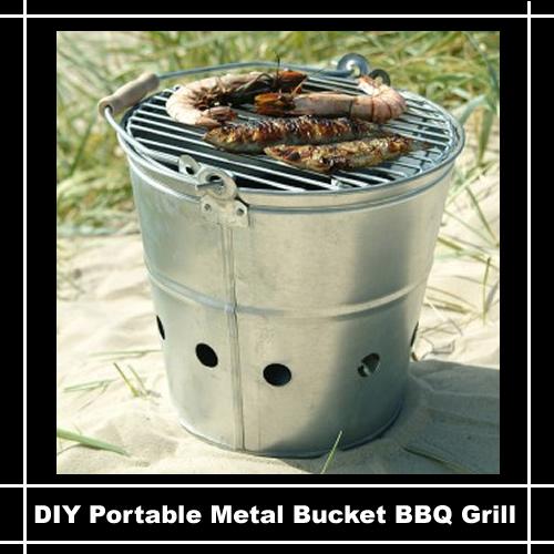DIY Portable Metal Bucket BBQ Grill