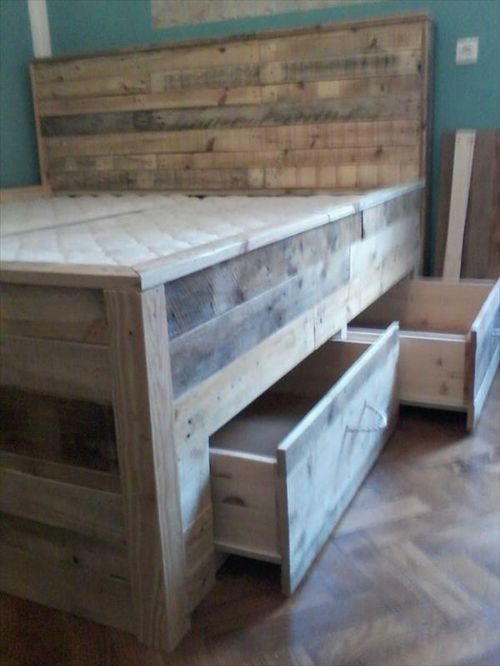 DIY Wood Pallet Bed With Drawers