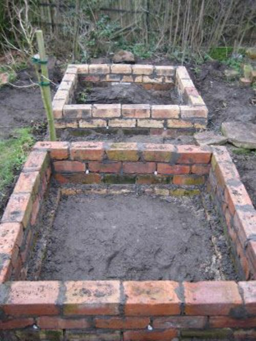 Diy brick raised garden beds for Diy brick projects