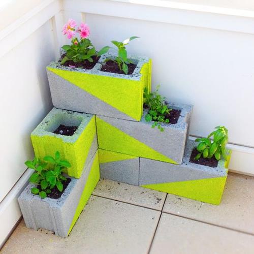 DIY Cinder Block Herb Planter