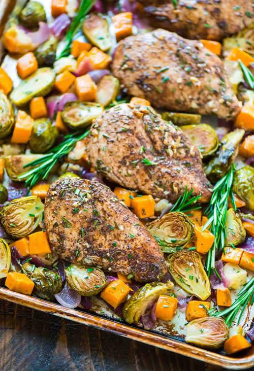 Sheet Pan Chicken With Sweet Potatoes Recipe